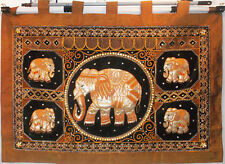 HANDMADE EMBROIDERED SEQUIN ELEPHANT WALL HANGING & PAIR OF MATCHING PILLOWS NEW