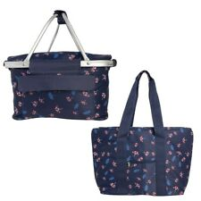 2pc Set Large Insulated Picnic Basket And Tote Bag Pockets Zipper Red White Blue