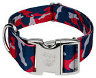 Country Brook Petz® 1 1/2 Inch Premium Navy Blue and Red Camo Dog Collar
