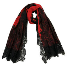 Red With Black Lace Scarf