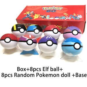 AU Kids 8PCS Random Pokemon Action Figure Pokeball Pop-up Cartoon Ball Toy BOXED