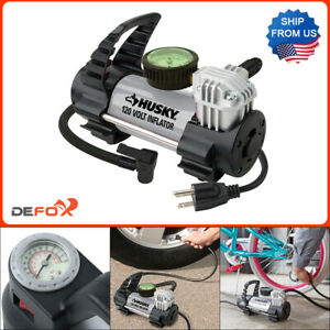 Husky 120V Inflator Air Pump Compressor Electric for Bike Car Truck Tire 130 PSI