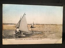 "Antique POSTCARD c1910-15 South Bay, Long Island ""Scooters"" Sailing, Sparkles!"