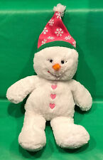 Build a Bear Snowman Girl White Pink Snow Flurry Friends Stuffed Plush Doll