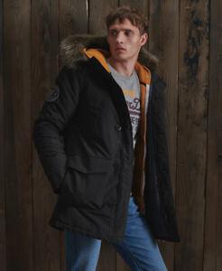 Superdry Mens Everest Parka Jacket Black Parka Quilted Fur Coat Ship World