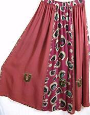 SK276~TIENDA HO~Brick/Rasp Red~RAYON CIRCLE SKIRT~Indian~Embroidery~OS~M-1X?