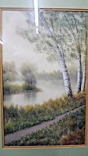 Vintage Framed and Matted Watercolor by *W.J. VanHorn* Path by The Waters Edge