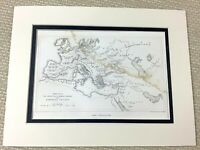 1860 Antique Engraving Print Ancient Barbarian Empire Map Frankish Visigoth Art