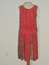 1920's Rose / Red Silk Crepe Beaded Flapper Dress w Metallic Gold Lace Inserts S