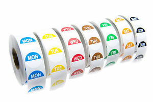 # Food Hygiene Labels Food Label Day Dots Full Week 1000 Stickers per Day - Peel