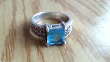 Beautiful Princess Aqua Blue Marcasite Ring Sterling Silver 925 *Size 9 *S074