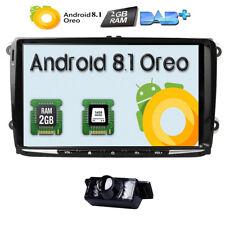 "9"" Android 8.1 Car Stereo GPS Sat Nav DAB for VW Golf MK5 MK6 Jetta OBD2 BT+ Cam"