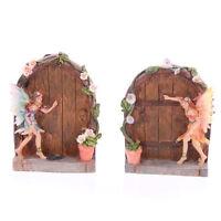 Pretty Glitter Flower Fairy With Fairy Door, Home or Fairy Garden Ornament: 10cm