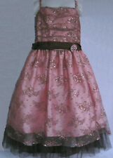 NWT Dimples Girls Pink & Brown Lace Party Dress(Size 6) MSRP$110.00 NEW