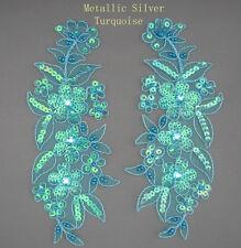 Venise Lace Sequins &  beaded Applique Trim Motif #9