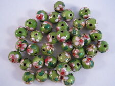 15 pieces, 10mm 'Green' Cloisonne Beads