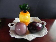 3 Piece Glass Vegetables and Fruit Murano Style w,o Plate