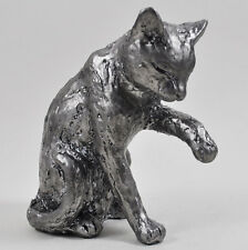 Kitten Cat Ornament Silver Statue Licking Paw Pose NEW BOXED 41042