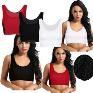 Women Lesbian Tomboy Chest Breast Binder Slim Fit FTM Crop VestS Short Tank Tops