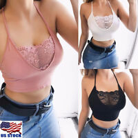 Womens Sexy Spaghetti Strap Cross Back Lace Crop Top Tank Tops Camisole Clubwear