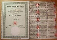 Action. Etablissements ROFFO - Action de 30 francs au porteur 1974