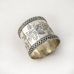 Coin Silver Napkin Ring Floral Rose Engraved Decorations 1890
