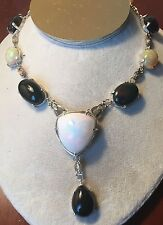 New Jumbo 160ct Ethiopian Harlequin, Black welo Opal & Diamond 14k gold Necklace