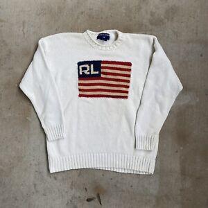 Ralph Lauren Polo Sport USA American Flag Sweater Size L