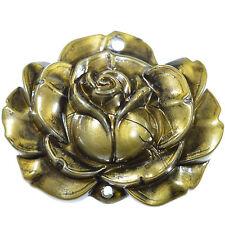 6 Rose Fleur Acrylique 2 Trous Perles 23 mm bronze brown Fabrication de Bijoux Artisanat