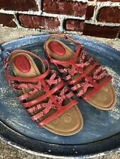 NWOB MONTANA Artisan Crafted RED LEATHER STRAP FLAT SANDALS WOMENS SIZE 10 M