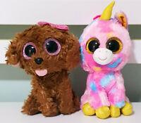 Lot of 2x TY Beanie Boos Fantasia the Unicorn & Maddie the Dog 13-17cm Tall!