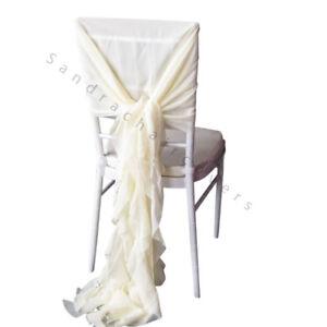 100 Ivory Chiavari Chair Cover Hood & Ruffle Tail Set Wedding