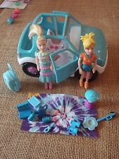 Polly Pocket Lot Dolls Jeep Car Vehicle Camping Blue Picnic Accessories H83