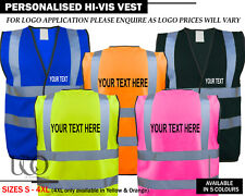 PERSONALISED HI VIZ HIGH VIS SAFETY VEST PRINTED WAISTCOAT EN471 NEW All Colours