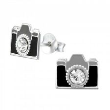 Childrens Girls Sterling Silver camera crystal stud earrings  - Pouch