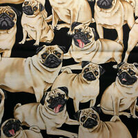 FAT QUARTER Dog Pug FABRIC QUILT COTTON FQ Great for Masks