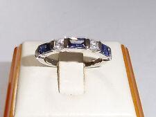 Ladies Fine 925 Sterling Silver 7 Stone Tanzanite & White Sapphire Eternity Ring