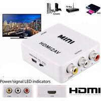 Mini Portable 1080P HDMI to 3RCA CVBS Composite Video AV Converter Adapter