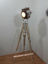 Nautical Floor Lamp Searchlight Wooden Spot Light with Teak Tripod Stand Decor