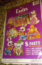 """1984 Beistle 8 pc.Decorama no. 44454 Packaged! 12""""-16""""-14&#034 ; Cutouts & Centerpiece"""