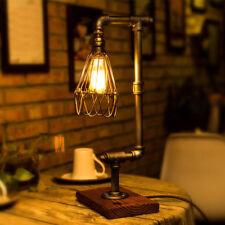 Vintage Industrial Retro Adjustable Iron Pipe Desk Table Lamp Metal Wire Cage EU