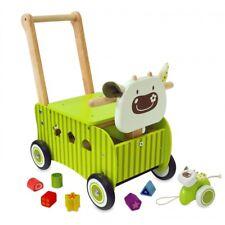 Jouet en bois bébé IM TOY Pousseur porteur en bois vert vache IM87600