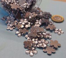 50 Silver Acrylic Flower Gems Flatback Baby Christening Weddings Cards 15mm