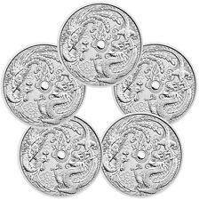 2017-P Australia $1 1 oz Silver Dragon & Phoenix Lot of 5 Coins In Caps SKU44093