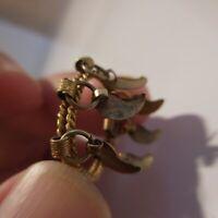 Pendentif cuivre laiton jaune bijou joaillerie anneau collier art déco N4529