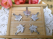 Wholesale 10pcs Tibet Silver Maple Leaf Charm Pendant Beaded Jewelry Diy 84