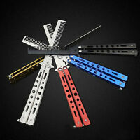 Training Sport Stainless Steel Colorful Butterfly  Comb Tool Folding CombKniNIU