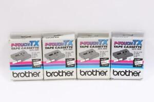 4 Brother P-Touch TX-2311 Tape Cassette Black on White *NEW*