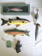 Lot Of Seven Wildlife River Fish Trinket Ornament + Vtg Motel Sierra Pine Soap