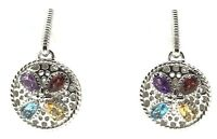 Sterling Silver Multi Color Pear Red Garnet Circle Drop Dangle Post Earrings